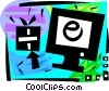 Vector Clip Art graphic  of a Online shopping for gifts