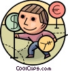 Man with currency symbols Vector Clipart picture