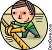 Man tying rope Vector Clip Art graphic