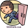 Man walking through door Vector Clipart picture