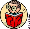 Man with glasses reading a book Vector Clipart illustration