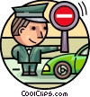 Officer of the Law directing traffic Vector Clip Art picture