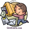 Mail gathering his e-mails Vector Clipart illustration