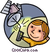 Man with cell phone and satellite Vector Clip Art graphic