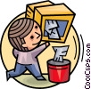 Man emptying e-mail Vector Clipart picture