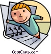 Student as a pencil and binder Vector Clipart illustration