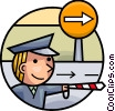 Officers of the Law directing traffic Vector Clip Art image