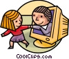Woman pulling man from computer screen Vector Clipart picture