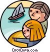 Vector Clip Art graphic  of a Children in Summer