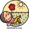 Boy laying in the grass with flower and sunshine Vector Clipart picture
