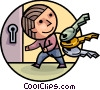 Man with Keys and Lock Vector Clipart illustration