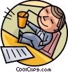 Man Relaxing at his desk having a drink Vector Clip Art picture