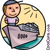 Man on front of cargo ship Vector Clip Art picture