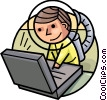 Astronaut working on computer Vector Clip Art image