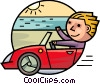 Man in his convertible driving by the ocean Vector Clipart illustration