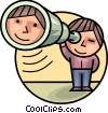 Person looking through telescope Vector Clipart picture