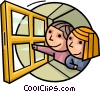 Vector Clipart graphic  of a Children in Summer