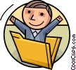 Businessman in file folder Vector Clipart picture