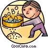 Man sifting Digital Data Vector Clipart illustration