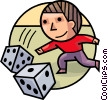 Man rolling Dice Vector Clipart illustration