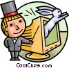 Magician making rabbit appear from monitor Vector Clipart illustration