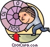 Vector Clip Art graphic  of a Wheel Games