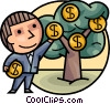 Businessman picking money from tree Vector Clipart picture