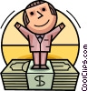Businessman standing on stack of money Vector Clipart picture