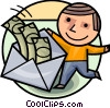 Man with envelope full of money Vector Clipart illustration