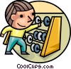 Boy adding with an abacus Vector Clip Art picture