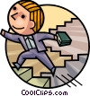 Businessman climbing Stairway to Success Vector Clipart illustration