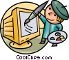 Painter with palette and monitor Vector Clipart picture