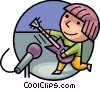Rock star playing guitar Vector Clip Art graphic
