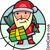 Santa delivering presents Vector Clipart illustration