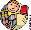 Student with library book Vector Clipart graphic