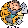 Man searching for documents Vector Clipart picture