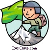 Man planting flag on mountain summit Vector Clipart illustration
