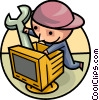 Vector Clipart image  of a Computer Service and Repair