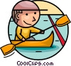 Vector Clipart illustration  of a Kayaking