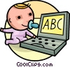 Baby playing with computer Vector Clipart picture