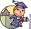 Graduate leaving school with diploma Vector Clip Art graphic