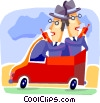 Businessmen talking on cell phones Vector Clip Art picture