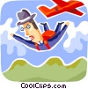 Vector Clipart image  of a Skydiving