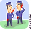 Security personnel talking on two way radios Vector Clipart image
