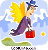 Businessman Soaring to New Heights Vector Clip Art graphic