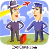 Security personnel checking man's luggage Vector Clipart graphic