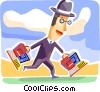 Businessman with notebook computers Vector Clip Art picture