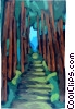 Vector Clip Art picture  of a Road with trees