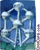 Brussels Atomium, symbol of iron crystal with 9 atoms Vector Clipart picture