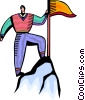 Accomplishment Man at peak of mountain Vector Clip Art picture